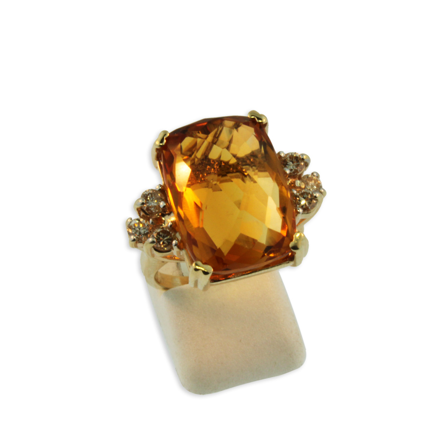 Citrine and Diamond Ring  19582