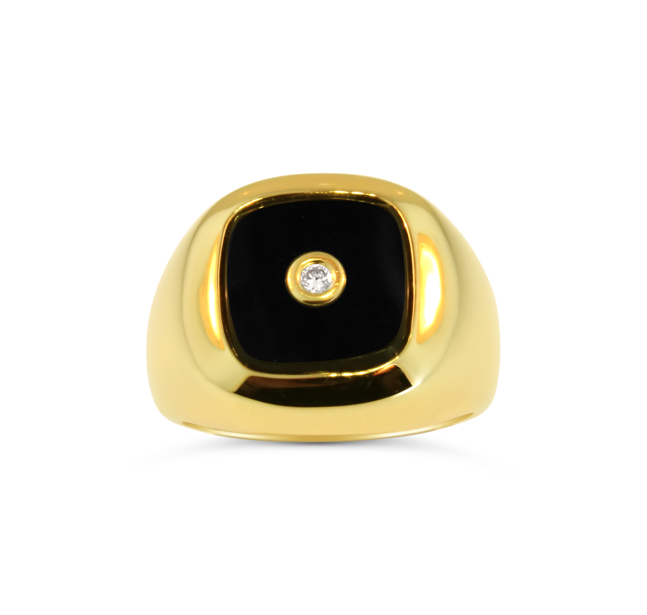 Mens Onyx and Diamond Ring 19041