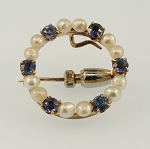 Pearl and Sapphire Pin  15792