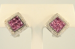 Pink Sapphire and Diamond Earrings 18677