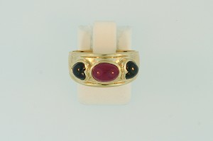 Cabochon Ruby and Sapphire Ring