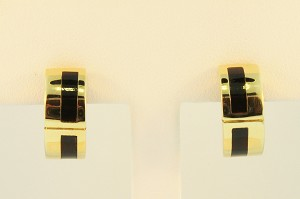 Gold and Onyx Hoop Earrings  19366