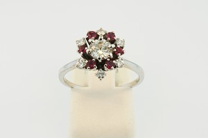 Diamond and Ruby Flower Style Ring 19734