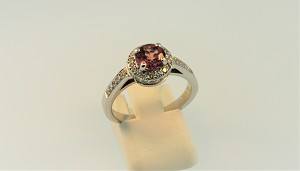 Pink Tourmaline and Diamond Ring 20264